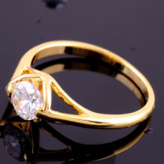 Superb inel 9k GOLD FILLED cu zircon cz. Marimea 6 si 9 - Inel placate cu aur
