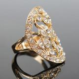 Superb inel suflat cu aur de 9K cu cu zircon cz.  Marimea 5.5