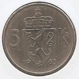Norvegia 5 Kroner 1963 - Olav V (Type 1) 29.5 mm K70, KM-412, Europa