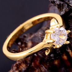 Inel 9k GOLD FILLED zircon cz. Marimea 8 - Inel placate cu aur