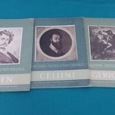 LOT 3 CĂRȚI COLECȚIA MAEȘTRII ARTEI UNIVERSALE: GERICAULT, REPIN, CELLINI/1957