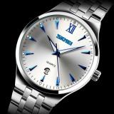 Ceas elegant marca SKMEI cadran alb - Ceas barbatesc, Inox, Data, Analog, Diametru carcasa: 37