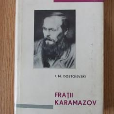 FRATII KARAMAZOV- DOSTOIEVSKI- cartonata, supracoperta- pe foita de tigarete - Carte de lux