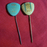 2 Insigne Israel  - Federatia Fotbal - IFA , h= 1,5 cm , metal si email