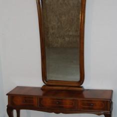 Toaleta superba cu intarsie; Comoda; Dulap cu oglinda, Comode si bufete, Dupa 1950