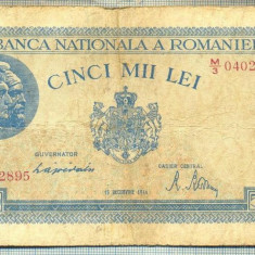 A1083 BANCNOTA-ROMANIA-5000 LEI-15DECEMVRIE1944-SERIA0402895-starea care se vede - Bancnota romaneasca