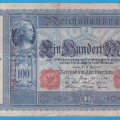 (6) BANCNOTA GERMANIA - 100 MARK 1910 (21 APRILIE 1910) - STAMPILA ROSIE - bancnota europa
