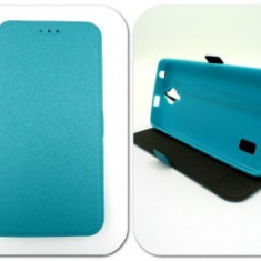 Husa FlipCover Stand Magnet Sony Xperia M5 Turcoaz, Plastic, Cu clapeta