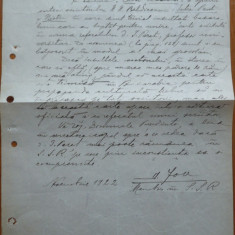 Adresa catre Pres. SSR a lui D. Iov imp. lui Beldiceanu , care l-a insultat,1922