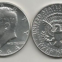 SUA - Statele Unite ale Americii, 1/2 dolar ( half ) 1964, ARGINT, a UNC, Europa, An: 1967