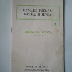 LEGISLATIE FUNCIARA, AGRICOLA SI SILVICA - LEGEA NR 8/1974 LEGEA APELOR ( Sif ) - Pliant Meniu Reclama tiparita