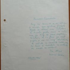 Text scris si semnat olograf de Marin Preda, 1965 - Autograf