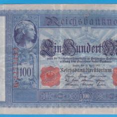 (2) BANCNOTA GERMANIA - 100 MARK 1910 (21 APRILIE 1910) - STAMPILA ROSIE - bancnota europa
