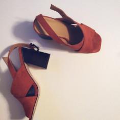 Sandale de piele ASOS, marimea 37 - Sandale dama Asos, Culoare: Coniac, Marime: 37 1/3
