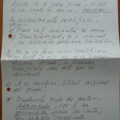 2 pagini scrise olograf de catre Tudor Musatescu , privind piesele sale
