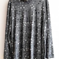 Bluza tip rolling gri cu buline - Helanca dama, Marime: 48, 50, 52, 54, Bumbac