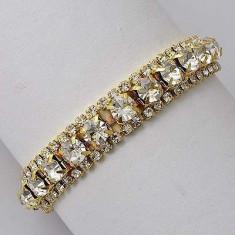 Superba bratara 9k GOLD FILLED cu cristale SWAROVSKI - Bratara placate cu aur