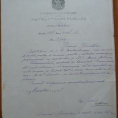 Docum. al Ministerului Instructiunii Publice semnat olograf de Spiru Haret, 1886 - Autograf