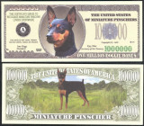 !!! SUA = FANTASY NOTE =  MINI  PINSCHER  - 2006 - UNC  /  SERIA  CAINI , WOOF