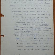 3 pagini de manuscris Maria Banus, scrise si semnate olograf, 1972 - Autograf