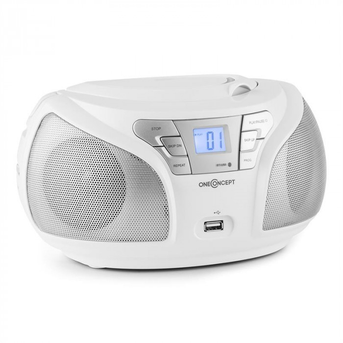 ONEconcept Groovie WH Boombox Bluetooth FM CD MP3 AUX alb foto mare