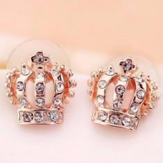 Cercei placati filati aur roz 14k tip PANDORA GOLD ROSE coronite gold filled - Cercei placati cu aur