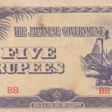 OCUPATIA JAPONEZA IN BURMA 5 rupees 1942 VF!!! - bancnota asia