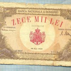A1130 BANCNOTA-ROMANIA-10000 LEI-28 MAI 1946-SERIA2022-starea care se vede - Bancnota romaneasca