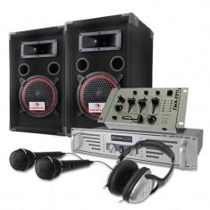 Set DJ PA Boxe 1000W Amplificator Mixer -Ca?ti cu microfon