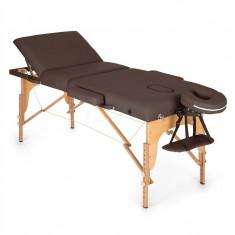 KLARFIT MT 500, maro, masă de masaj, 210 cm, 200 kg, retractabil, finisaj fin, geantă