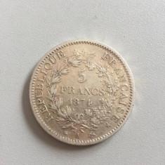 FRANTA 5 Francs 1874 MONEDA ARGINT 25 gr, Europa