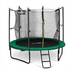 Klarfit Rocketstart 250, 250 cm trambulină, plasă internă de securitate, scară largă, verde - Trambulina copii