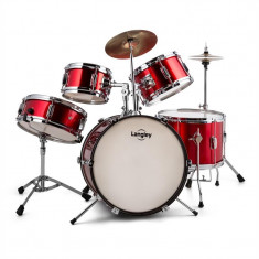 Langley Junior Drum 1, set de tobe pentru copii, set complet, roșu