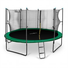 Klarfit Rocketstart 430, 430 cm trambulină, plasă internă de securitate, scară largă, verde - Trambulina copii