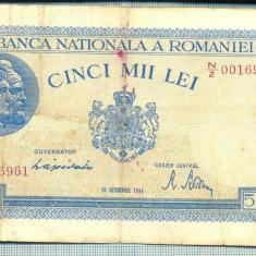 A1146 BANCNOTA-ROMANIA-5000 LEI-10OCTOMVRIE1944-SERIA0016961-starea care se vede - Bancnota romaneasca