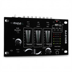 Ibiza DJ-21, mixer 3/2 canale, USB, talkover, party - Mixere DJ
