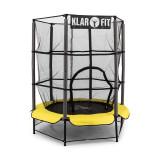 Klarfit Rocket Kid 3 trampoline siguranță 140 cm suspensie bungee net galben - Trambulina copii
