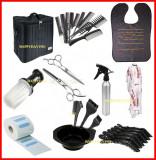 set kit frizerie coafor foarfeca tuns+filat  geanta transport