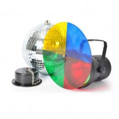 BeamZ Disco Set III, set de lumini, 20 cm, disco ball, bilă cu oglindă, lanț, motor, PAR - Stroboscop club