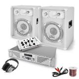 Set DJ PA White Bassalt dublu CD player 1200W