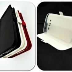 Husa FlipCover Stand Magnet UTOK 450Q Alb, Plastic, Cu clapeta