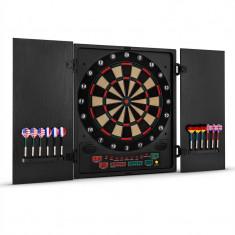 OneConcept Dartmaster 180, Dartboard electronc, negru cu săgeți și uși - Set Darts