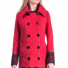 Palton din Stofa Cezarina - Bej - Palton dama Raspberry, Marime: 50, 48, 46, 44