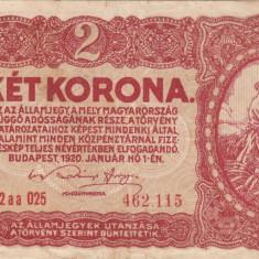 UNGARIA 2 korona 1920 VF!!! - bancnota europa
