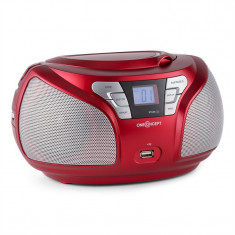 ONEconcept Groovie SL Boombox Bluetooth FM CD MP3 AUX rosu - CD player