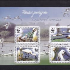 ROMANIA  2006  LP 1744 c  PASARI  PROTEJATE  LOPATARUL  EURASIAN  WWF BLOC MNH