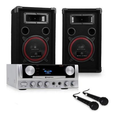 "Sistem PA ""EASY"" DJ Set cutii amplificator Microfoane 1000W foto"