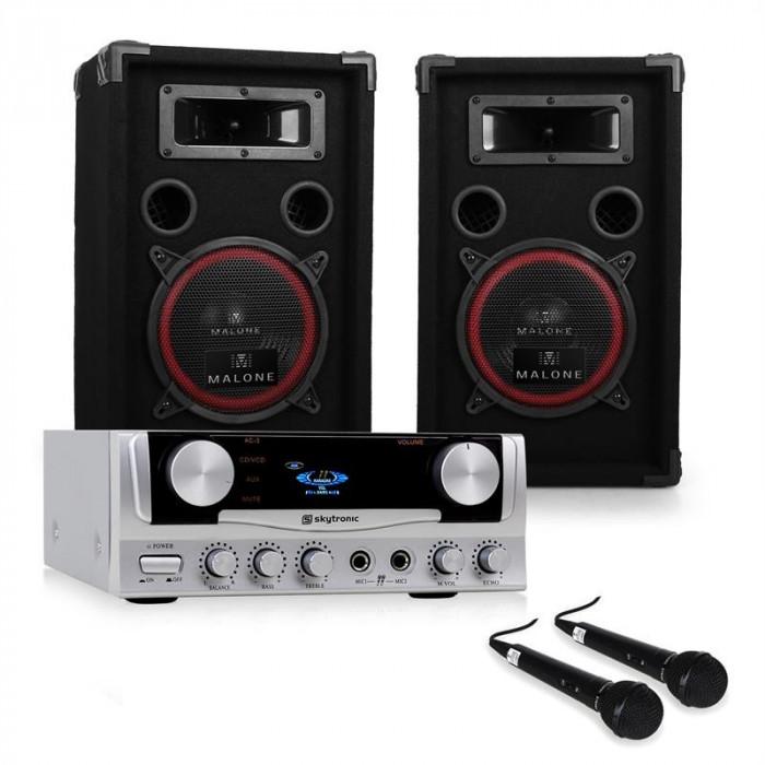 "Sistem PA ""EASY"" DJ Set cutii amplificator Microfoane 1000W foto mare"