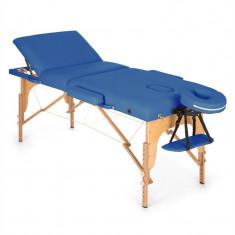KLARFIT MT 500, albastru, masă de masaj, 210 cm, 200 kg, retractabil, finisaj fin, geantă