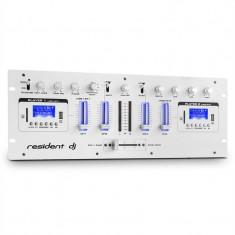 DJ405USB rezident dj, alb, DJ mixer cu patru canale, 2 x bluetooth, USB, SD, AUX, func?ie de înregistrare - Mixere DJ